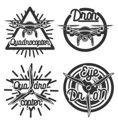 Vintage quadrocopter emblems vector