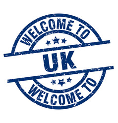 welcome to uk blue stamp vector image