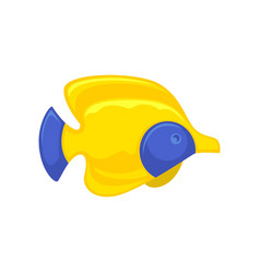 Yellow-blue fish picture in flat design isolated vector