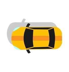 Yellow car top view flat design vector