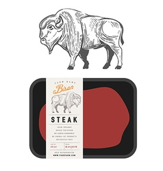 Vintage bison buffalo engraving style vector