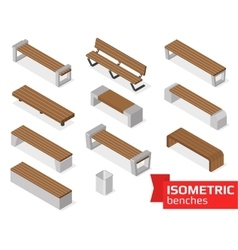 Isometric benches isolated on white vector