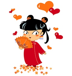 Chinese romantic little girl vector image