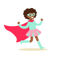 Girl pretending to have super powers dressed in vector