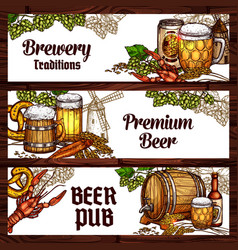 Beer drinks and snack food sketch banner design vector