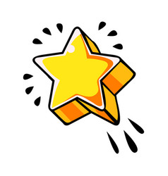 Five pointed yellow star comic vector
