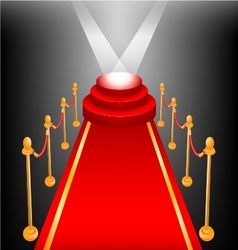 Empty stage with red carpet vector