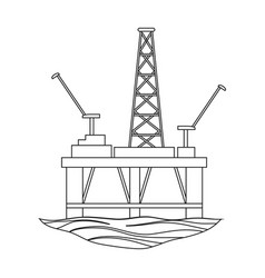 Oil rig on the wateroil single icon in outline vector
