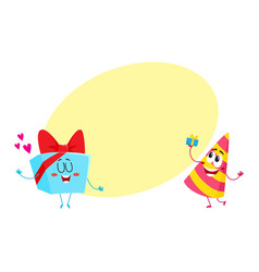 Smiling birthday party characters - striped hat vector