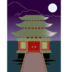 night buddhist temple vector