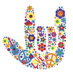 Psychedelic hand sign design with many elements vector
