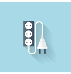 Flat web icon energy power plug vector