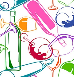 Wine glasses and bottles seamless pattern vector
