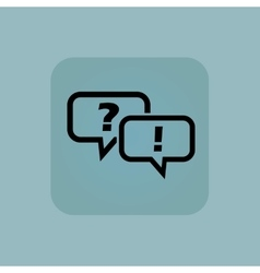Pale blue question answer icon vector
