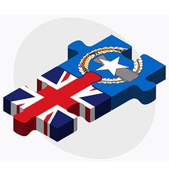 United kingdom and northern mariana islands flags vector