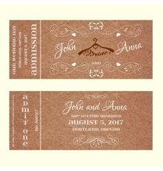 Ticket wedding invitation with hangers for bride vector