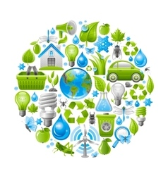 Ecological set with green icons on white vector