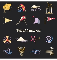 Wind color flat icons vector