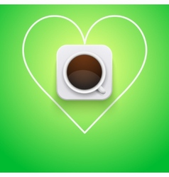 Background cup of coffee and heart vector
