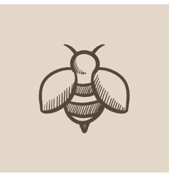Bee sketch icon vector