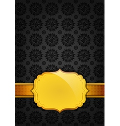 Black abstract texture and golden ribbon vector