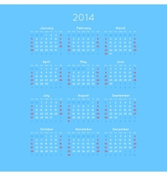 Calendar With Trendy Thin Font 2014 vector image