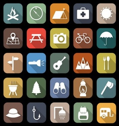Camping flat icons with long shadow vector