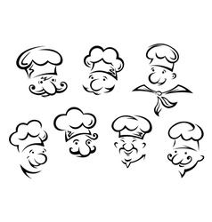 Cartoon portraits of funny chefs vector image