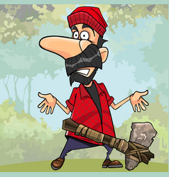 cartoon shocked lumberjack with a stone axe vector image vector image
