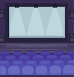 Cinema hall with huge screen and comfortable seats vector