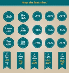 Collection of vintage shop labels - sale and offer vector image