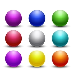 Colored glossy shiny 3d balls spheres set vector