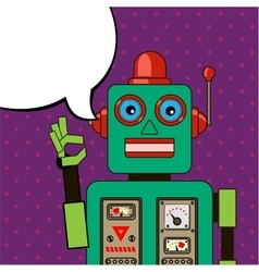 Cool robot showing ok sign pop art poster vector