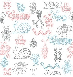 Cute seamless patterns with insects vector image