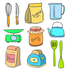 doodle of kitchen equipment set colorful vector image vector image