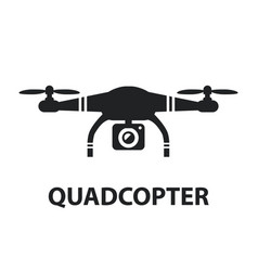 drone quadcopter camera black icon isolated vector image