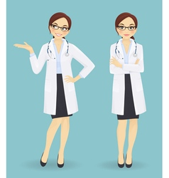 Female doctor in different poses vector image vector image