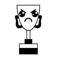 Figure kawaii cute angry prize cup vector