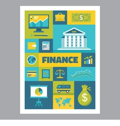 Finance - mosaic poster with icons in flat design vector image vector image