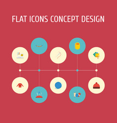 Flat icons copybook sewing yarn and other vector