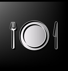 Fork plate and knife gray 3d printed vector