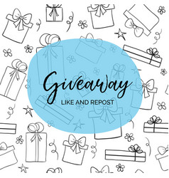 Giveaway like and repost template for blogs vector