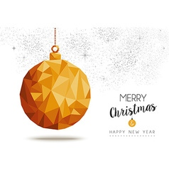 Gold Christmas and new year ornament in low poly vector image