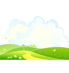 Green hills background vector image