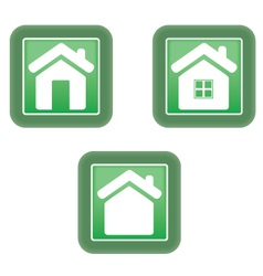 Green home icon vector