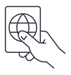 hand holding passport line icon sign vector image