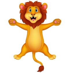 Happy lion cartoon jumping vector