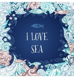 I Love Sea Frame vector image