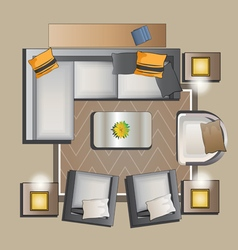 Living room furniture top view set 2 vector image vector image