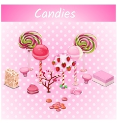 Original candy trees on a pink point background vector